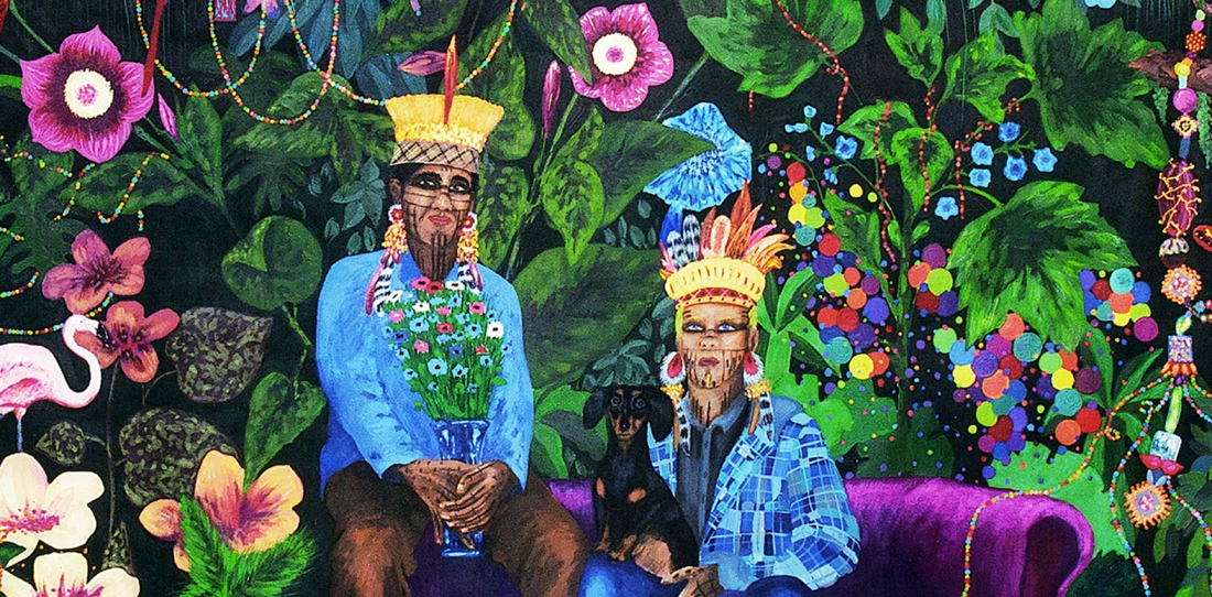 La famille dans la joyeuse verdure, de Leo Chiachio et Daniel Giannone, Deuxième Prix 2013 de la Cité de la tapisserie. Maquette de tapisserie (détail), gouache sur papier.