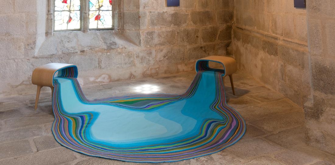 Confluentia, d'après Bina Baitel, Grand prix 2012 de la Cité internationale de la tapisserie, tissage Atelier Françoise Vernaudon, 2014. Exposition de l'Église du Château de Felletin, 2015.