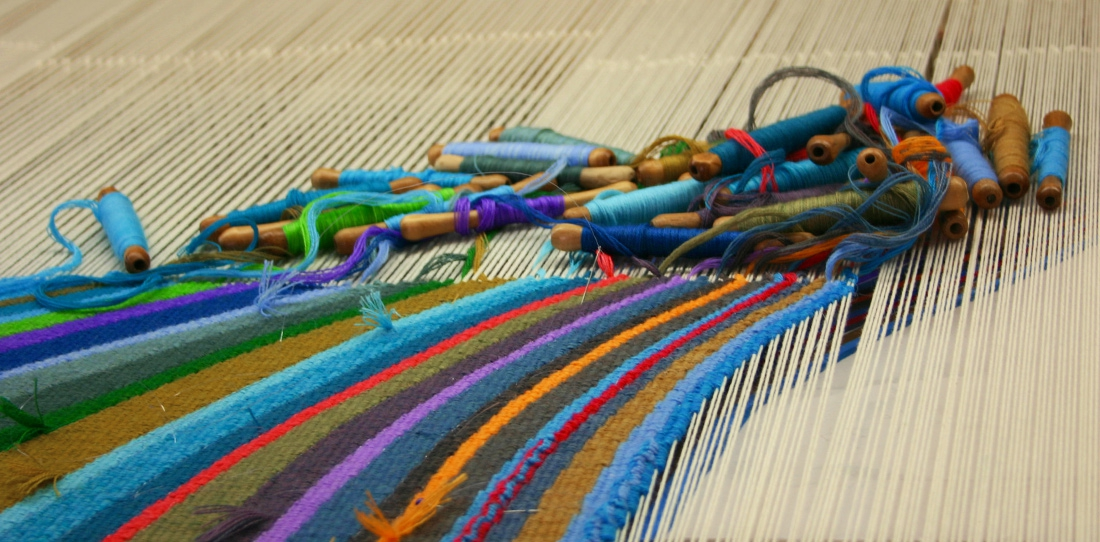 Confluentia, detail of the weaving on the loom at Françoise Vernaudon's workshop, 2014