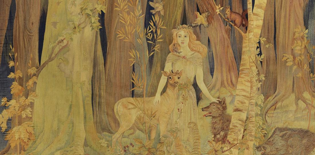 La Fée des bois (détail), d'après Antoine Jorrand, Manufacture Crocq-Jorrand, 1909.