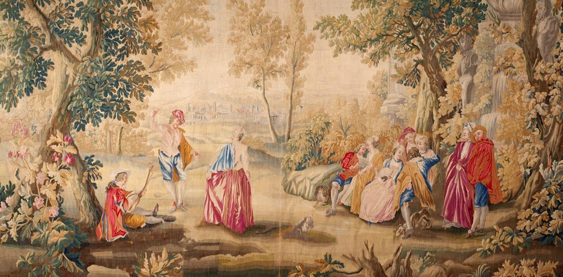 Les Plaisirs du bal (détail), pièce d'une tenture de 5 tapisseries d'après Watteau, XVIIIe siècle