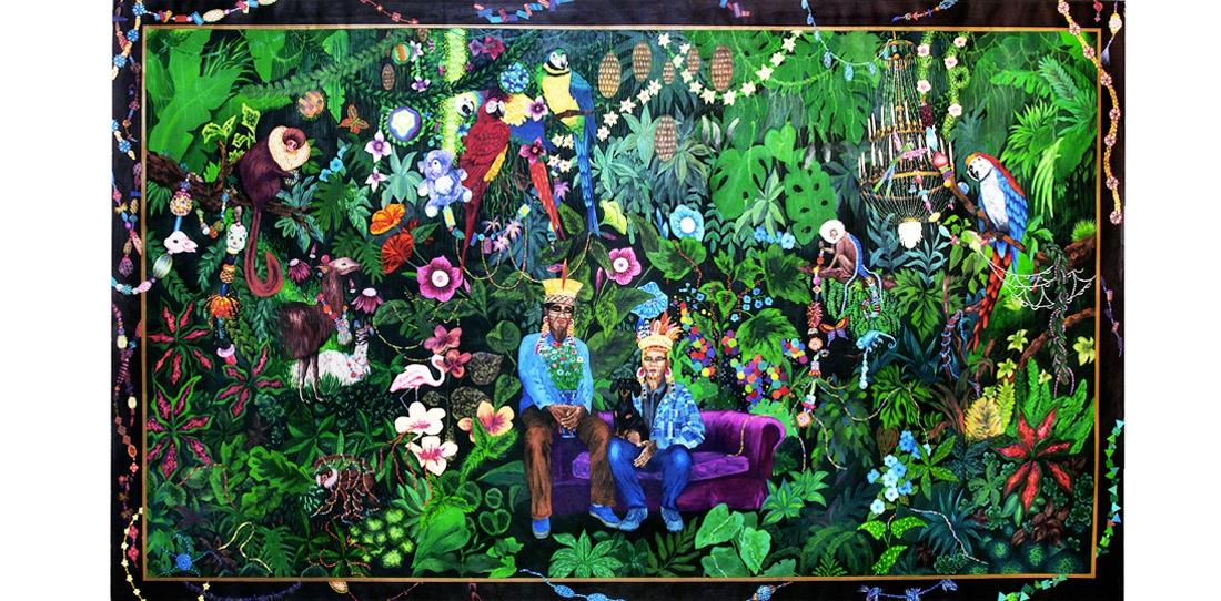La famille dans la joyeuse verdure, de Leo Chiachio et Daniel Giannone, Deuxième Prix 2013 de la Cité de la tapisserie. Mequette de tapisserie, gouache sur papier.