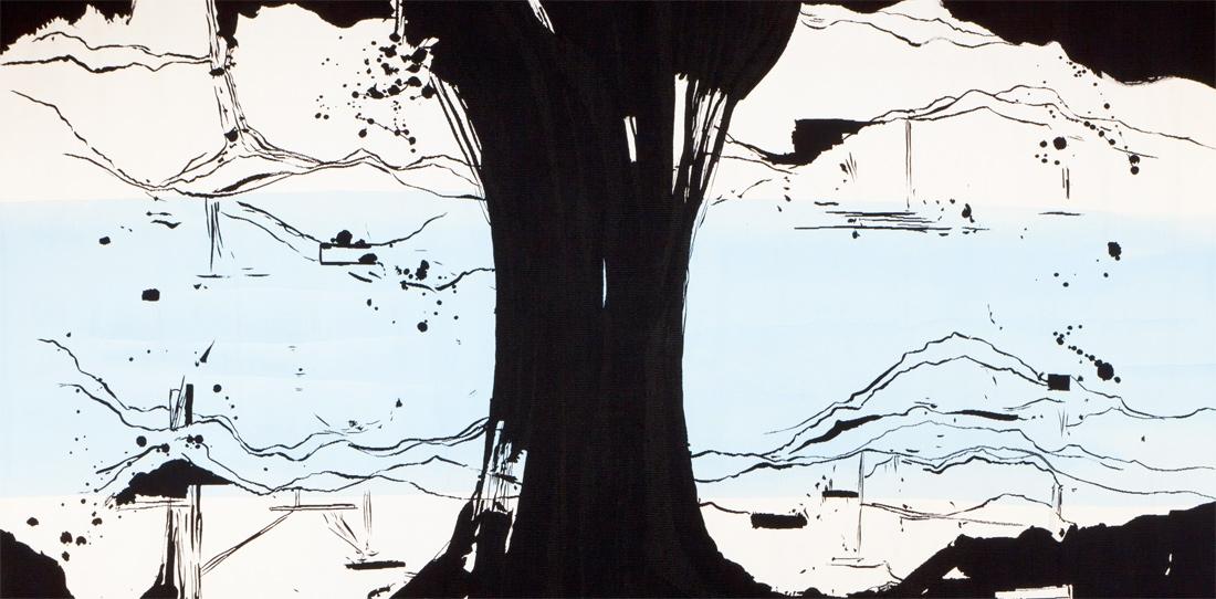 La Rivière au bord de l'eau (détail), Olivier Nottellet, troisième prix 2010, tissage atelier Bernard Battu, 2011