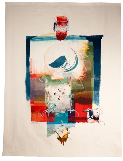 Sans titre (femme devant une ville), d'après Philippe Amrouche, tissage atelier Courant d'art, 2005