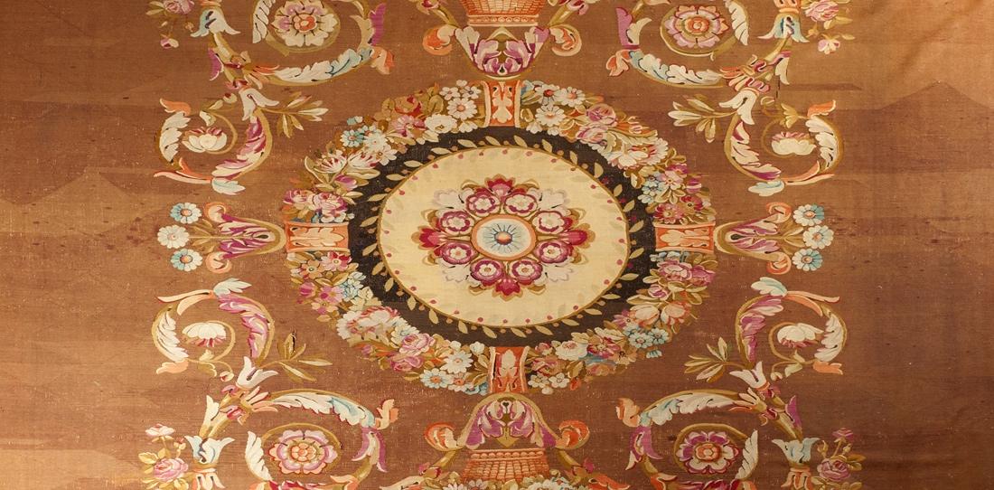 Tapis ras (détail), manufacture Sallandrouze, deuxième moitié du XIXe siècle (Napoléon III)