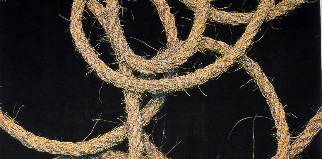 Sans Titre (détail), d'après Mathieu Mercier, troisième prix 2011 de la Cité internationale de la tapisserie, tissage Daniel Bayle et Agnès-Marie Durieux pour l'atelier Legoueix, 2013-2014
