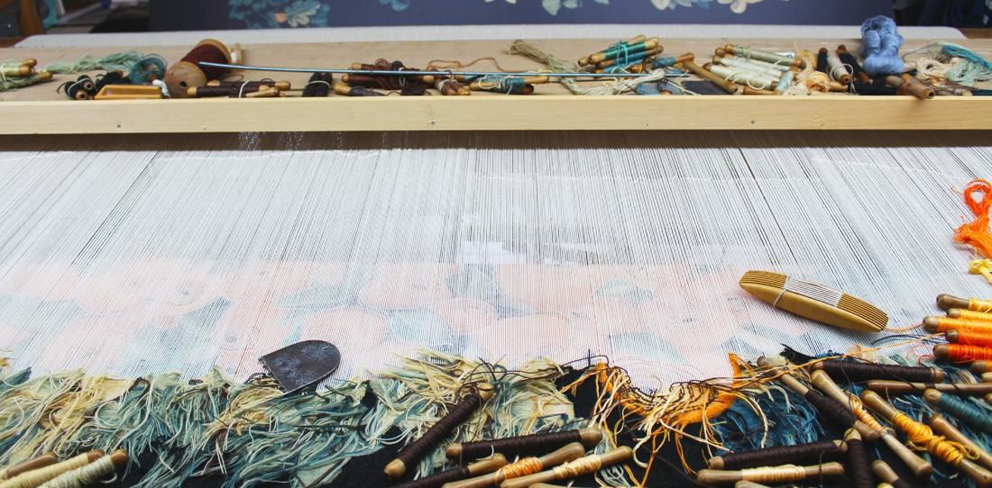 Nouvelles verdures d'Aubusson, Goliath Dyèvre & Quentin Vaulot, weaving in progress of the third tapestry at the workshop 'Atelier de la Lune'