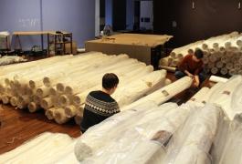Déménagement des collections de la Cité de la tapisserie