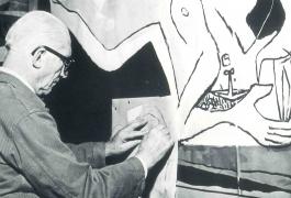 Le Corbusier, travaillant sur le carton de la tapisserie