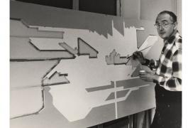 Yves Millecamps, retouche sur un carton de tapisserie